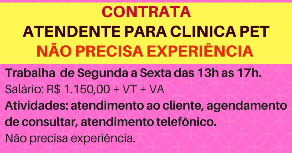CONTATA-SE ATENDENTE PARA CLÍNICA VETERINÁRIA – NÃO PRECISA TER EXPERIÊNCIA