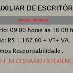 EMPRESA CONTRATA AUXILIAR DE ESCRITÓRIO – SALÁRIO – R$ 1167,00 Média salarial para Auxiliar de Escritório + BENEFÍCIOS.