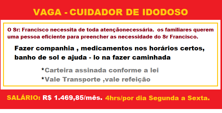 VAGAS DISPONÍVEIS PARA CUIDADOR DE IDOSO – CONFIRA OS REQUISITOS
